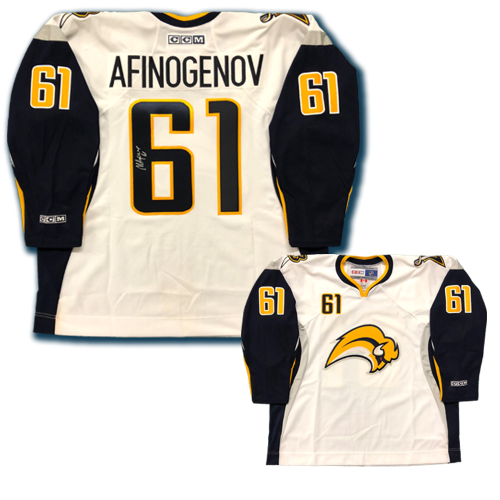 MAXIM AFINOGENOV Signed Buffalo Sabres White CCM Jersey