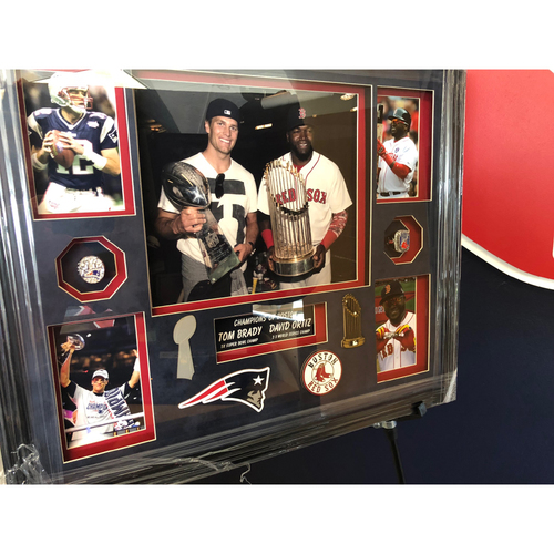 Photo of Tom Brady and David Ortiz Picture with Replica Rings