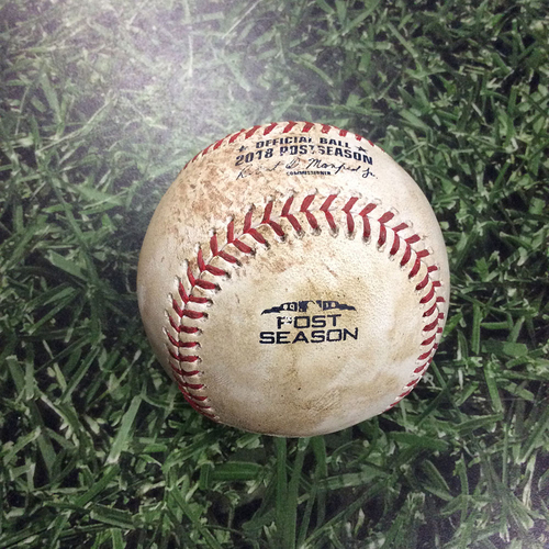 Photo of Game-Used Baseball NLCS Game 7 LAD@MIL 10/20/18 - Walker Buehler - Ryan Braun: Foul Ball