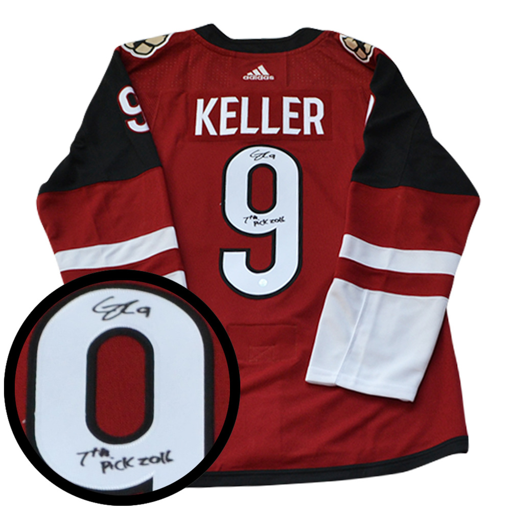 Clayton Keller Signed Jersey Coyotes Pro Red 2017-2019 Adidas Inscr
