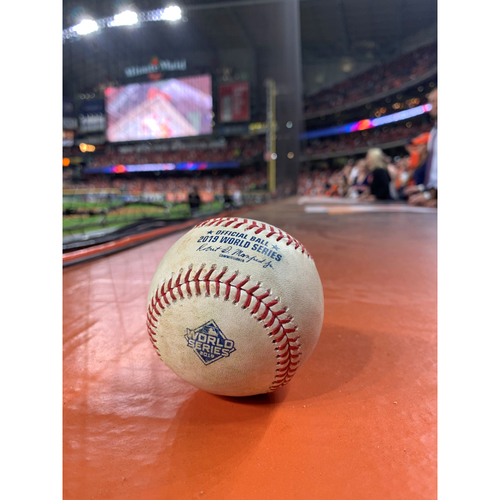 Photo of Game-Used Baseball: 2019 World Series - Game 2 : Pitcher: Stephen Strasburg, Batters: George Springer (Strikeout), Jose Altuve (Double to LF) - Bot 2