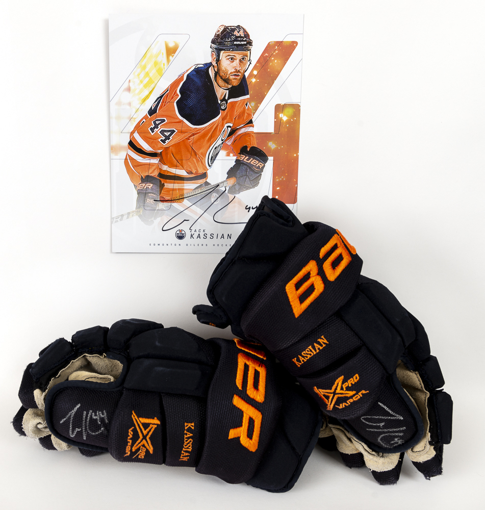 Zack Kassian #44 - Autographed 2019-20 Edmonton Oilers Game-Worn Bauer Vapor 1X Pro Hockey Gloves - Includes Autographed Oversized Player Card!