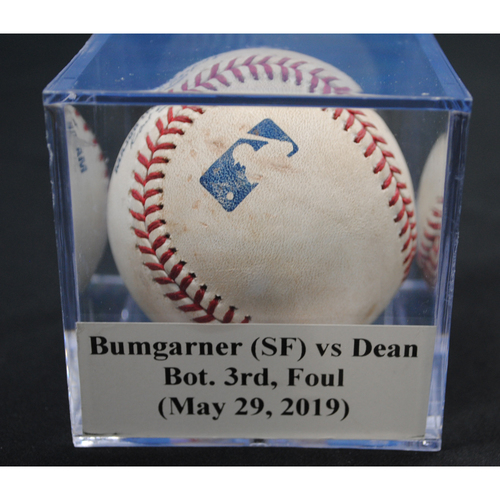 Photo of Game-Used Baseball: Madison Bumgarner (SF) vs Austin Dean, Bot. 3rd, Foul (May 29, 2019)