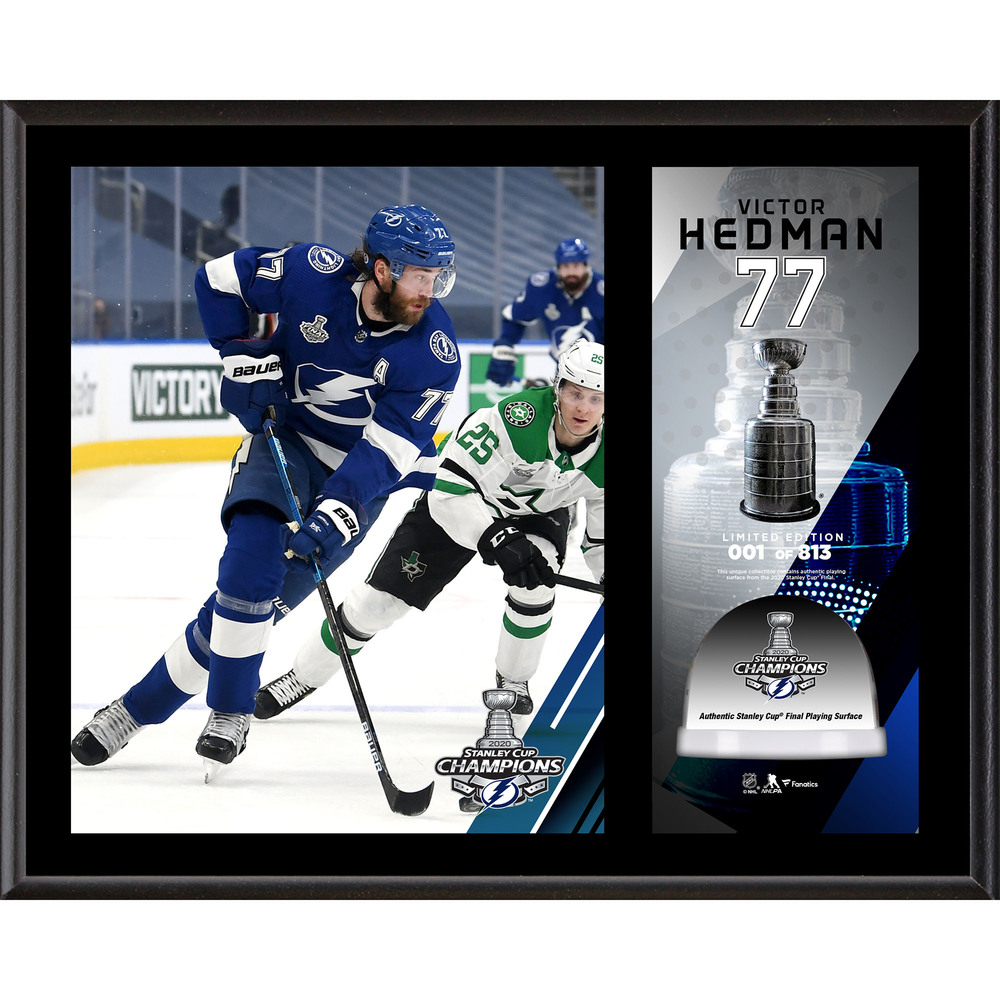 Victor Hedman Tampa Bay Lightning 2020 Stanley Cup Champions 12'' x 15'' Sublimated Plaque with Game-Used Ice from the 2020 Stanley Cup Final - LE#1 of 813