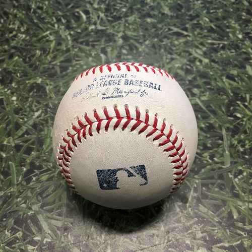 Photo of Game-Used Baseball CWS@MIL 07/24/21 - Miguel Sanchez - Andrew Vaughn: Double (21)