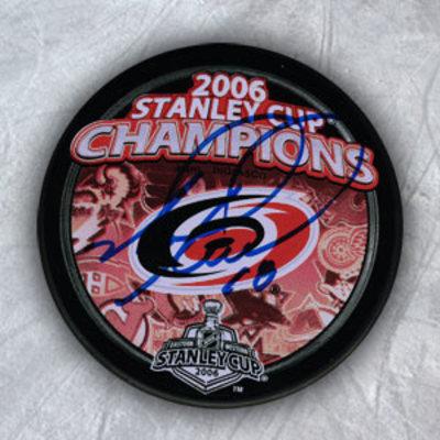 Mark Recchi Carolina Hurricanes Autographed Stanley Cup Puck