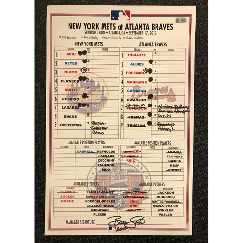 Photo of Game-Used Lineup Card - 9/17/17 - Mets at Braves - Today Only $35!