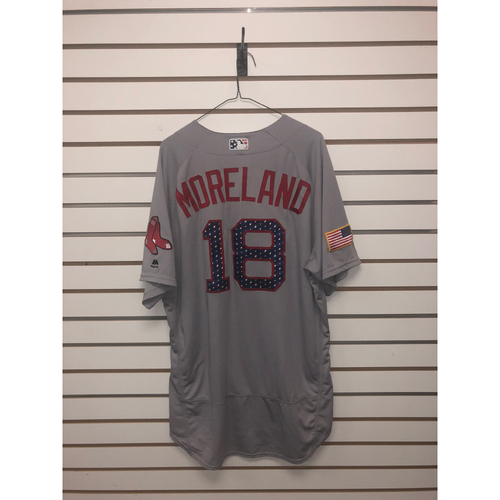 Photo of Mitch Moreland Game-Used July 4, 2018 Stars and Stripes Road Jersey