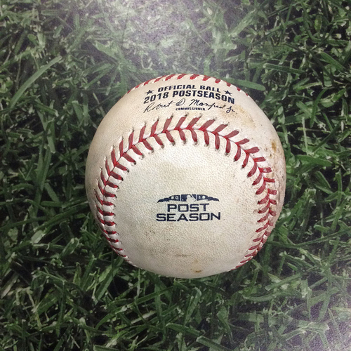 Photo of Game-Used Baseball NLCS Game 7 LAD@MIL 10/20/18 - Walker Buehler - Jesus Aguilar: Foul Ball