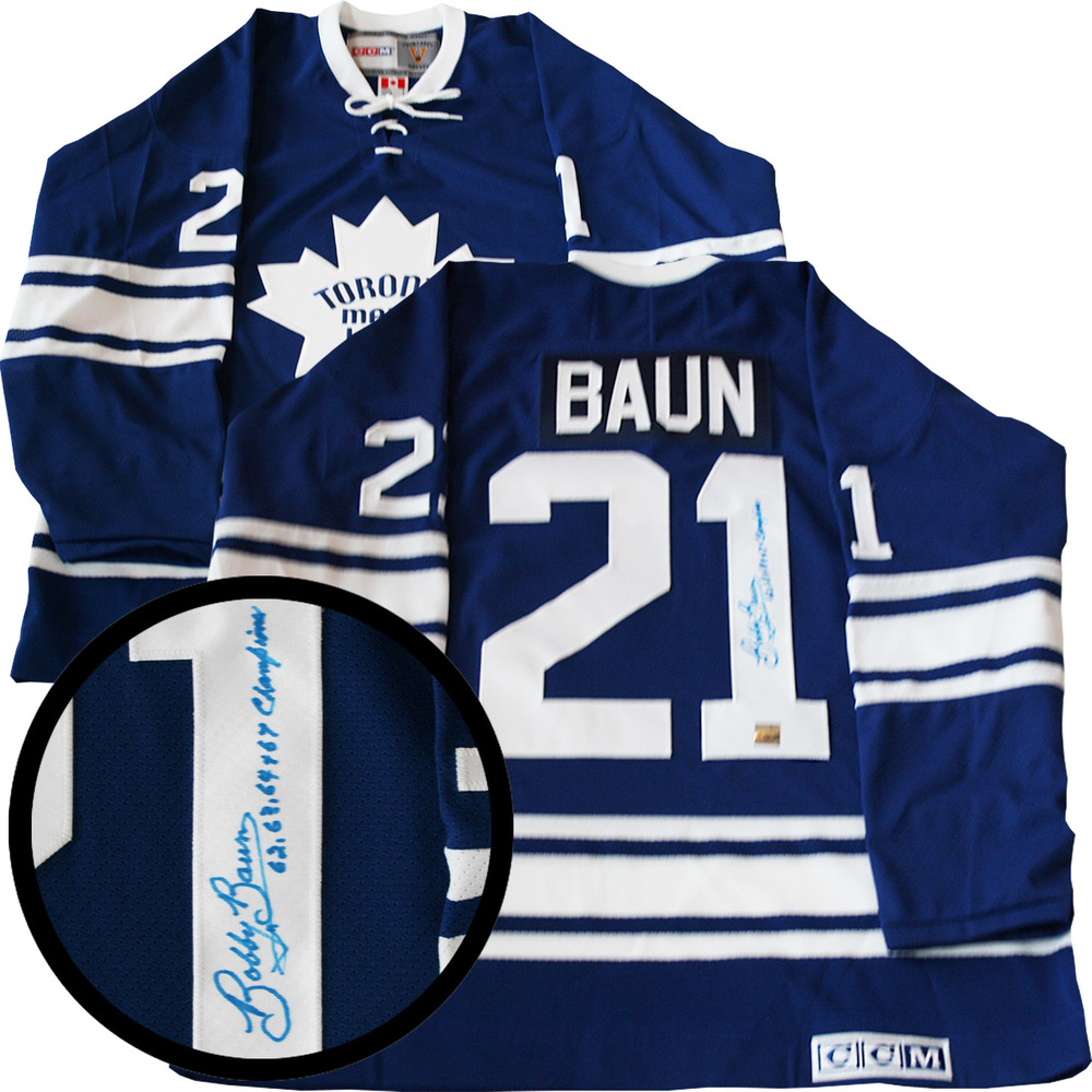 Bobby Baun Signed Jersey Leafs 62,63,64,67 Champ Inscr.Replica Blue 1967 Vintage CCM