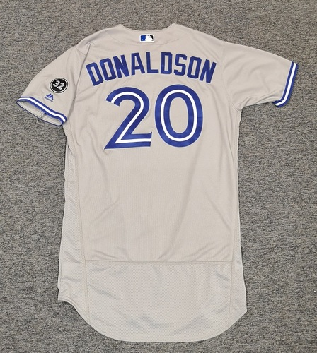 Photo of Authenticated Team Issued Jersey - #20 Josh Donaldson (2018 Season). Size 44.