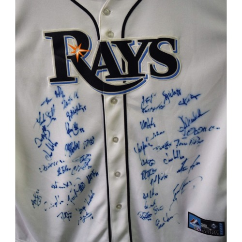 Photo of Rays Baseball Foundation Auction: 2013 Rays Team Signed Autographed Replica Home Jersey - Size XL