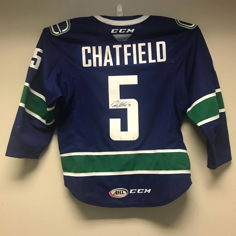 Utica Comets Regular Season Jersey worn and signed by #5 Jalen Chatfield