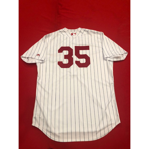 Photo of Tanner Roark -- Game-Used Jersey -- 1919 Throwback Game -- Nationals vs. Reds on June 2, 2019 -- Jersey Size 48 / Pants Size 37-44-20