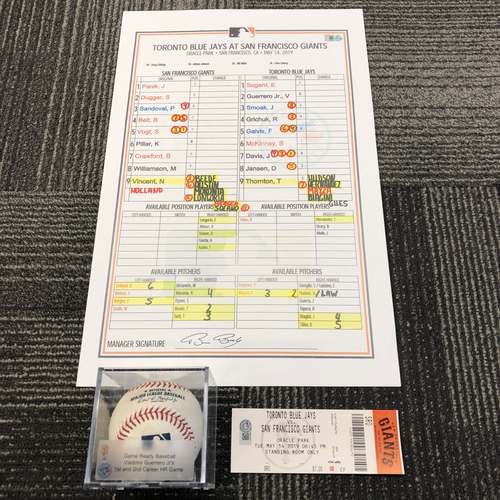 Photo of 2019 Game Ready Baseball, Replica Line Up Card, and Ticket from 5/14 vs Toronto Blue Jays - Vladimir Guerrero Jr's 1st and 2nd Career Home Run Game
