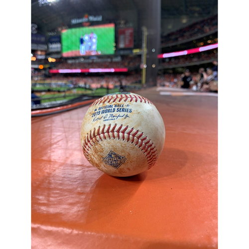 Photo of Game-Used Baseball: 2019 World Series - Game 2 : Pitcher: Justin Verlander, Batters: Asdrubal Cabrera (Strikeout), Ryan Zimmerman (Single to Pitcher) - Top 4