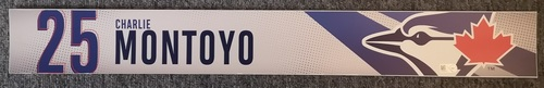 Photo of Authenticated Game Used Locker Name Plate: #25 Charlie Montoyo (2019 Regular Season). In Place for Montoyo's 1st Major League Managerial Win.