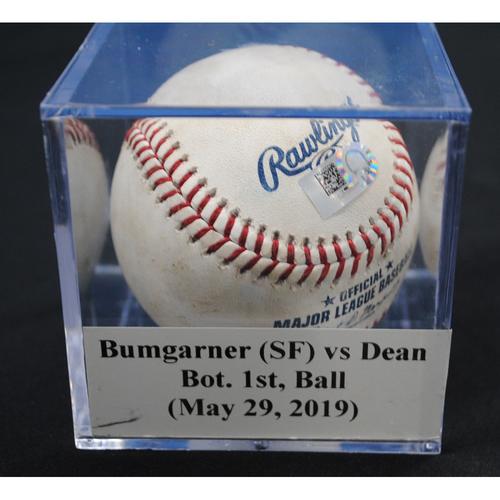 Photo of Game-Used Baseball: Madison Bumgarner (SF) vs Austin Dean, Bot. 1st, Ball (May 29, 2019)