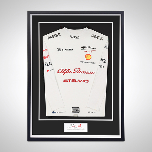 Photo of KIMI RAIKKONEN 2019 FRAMED RACE-WORN NOMEX