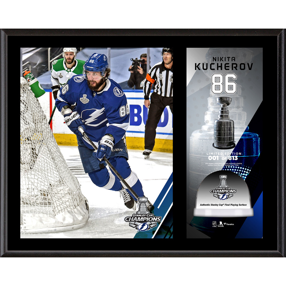 Nikita Kucherov Tampa Bay Lightning 2020 Stanley Cup Champions 12'' x 15'' Sublimated Plaque with Game-Used Ice from the 2020 Stanley Cup Final - LE#1 of 813