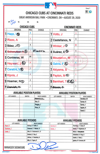 Photo of Game-Used Lineup Card -- Darvish 6th Win (6 IP, 0 ER, 8 K), Jeffress 4th Save, Rizzo 2 HRs -- Game 1 of Double Header -- Cubs at Reds -- 8/29/20
