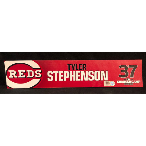 Tyler Stephenson -- 2020 Sumer Camp Locker Tag -- Team-Issued