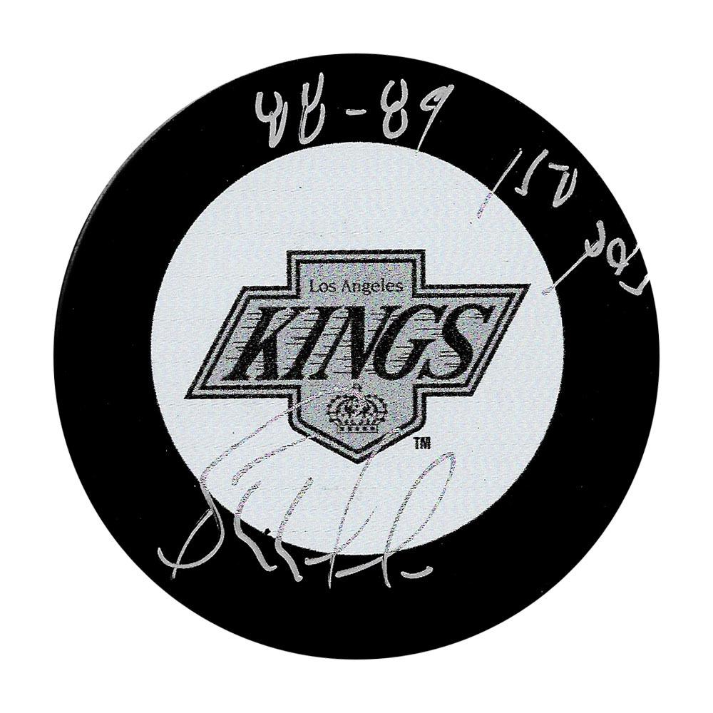 Bernie Nicholls Autographed Los Angeles Kings Puck w/88-89 150 POINTS Inscription