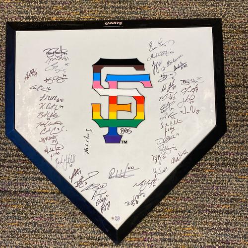 Photo of 2021 Team Signed Replica Home Plate with Pride Flag SF Logo - 48 Signatures!
