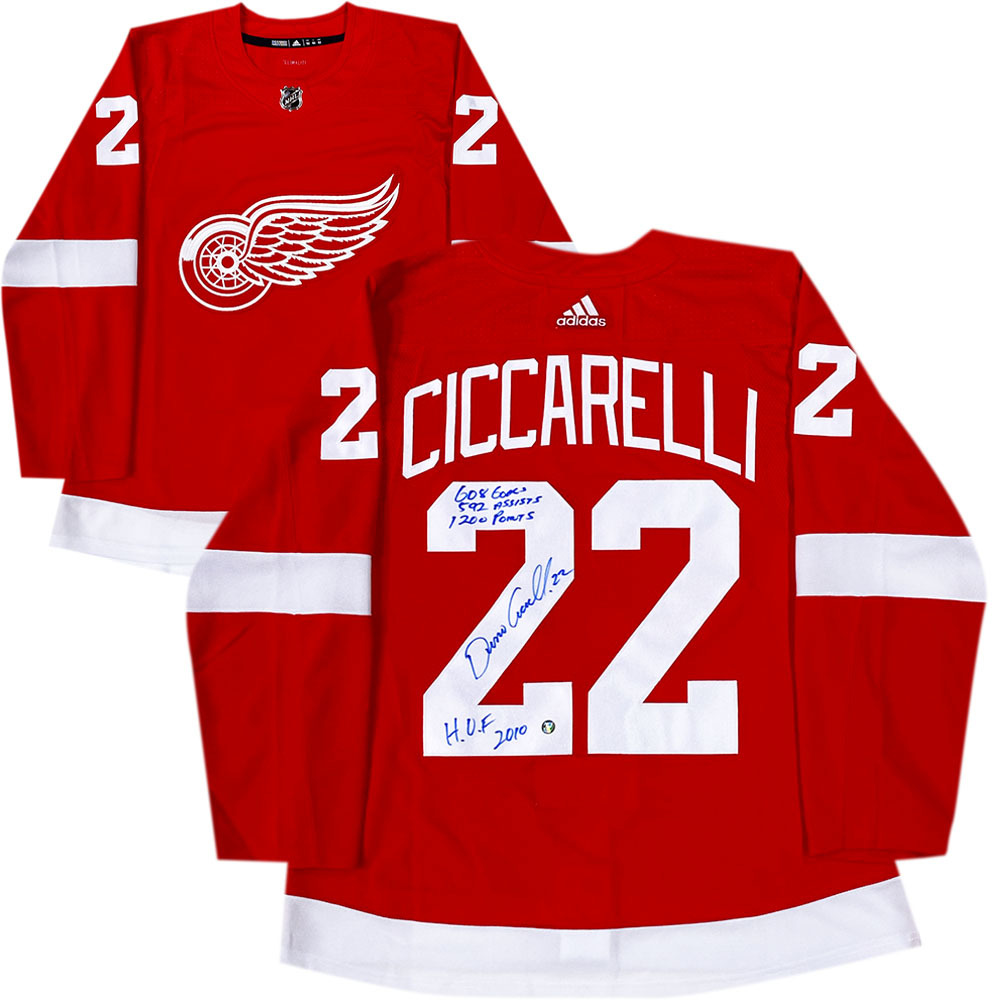 Dino Ciccarelli Autographed Detroit Red Wings adidas Pro Jersey w/Career Stats Inscription