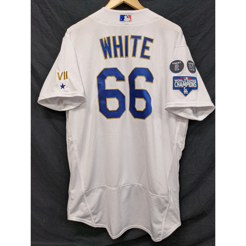 Photo of Mitchell White Team-Issued Gold Trim Re-Opening Day Jersey - 6/15/21