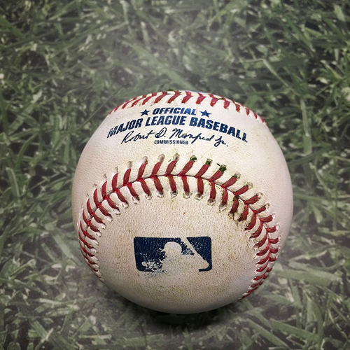 Photo of Game-Used Baseball CWS@MIL 07/23/21 - Lucas Giolito - Rowdy Tellez: Double (First Double as a Brewer)
