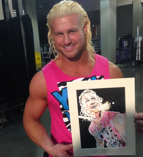 Dolph Ziggler Signed Painting by Rob Schamberger