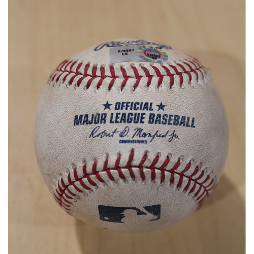 Game-Used Baseball: Edinson Volquez 1,005th Career Strikeout (CLE at KC - 9/25/15)