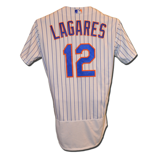 Photo of Juan Lagares #12 - Game Used White Pinstripe Jersey - Mets vs. Phillies - 9/22/16
