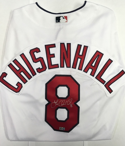 Photo of Lonnie Chisenhall Autographed Authentic Indians Jersey
