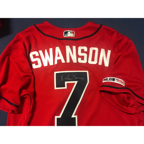 Photo of Dansby Swanson Game-Used Autographed Jersey