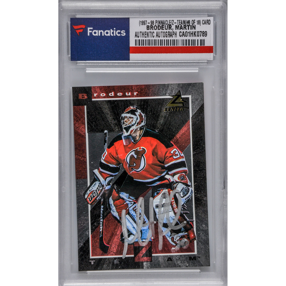 Martin Brodeur New Jersey Devils Autographed 1997 98 Pinnacle Zenith