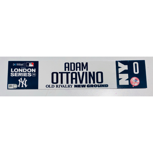 2019 London Series - Game Used Locker Tag - Adam Ottavino, New York Yankees vs Boston Red Sox - 6/30/2019