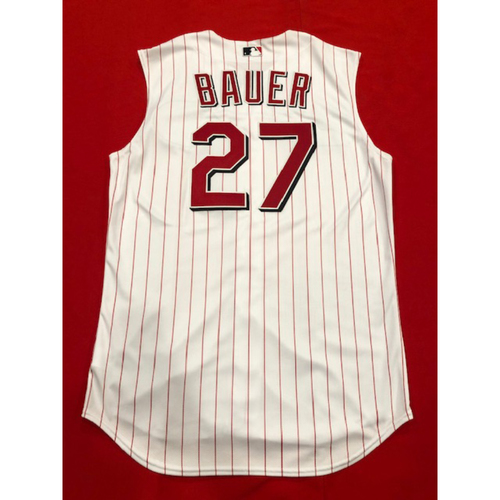 Photo of Trevor Bauer -- Game-Used 1999 Throwback Jersey -- Mets vs. Reds on Sept. 22, 2019 -- Jersey Size 46