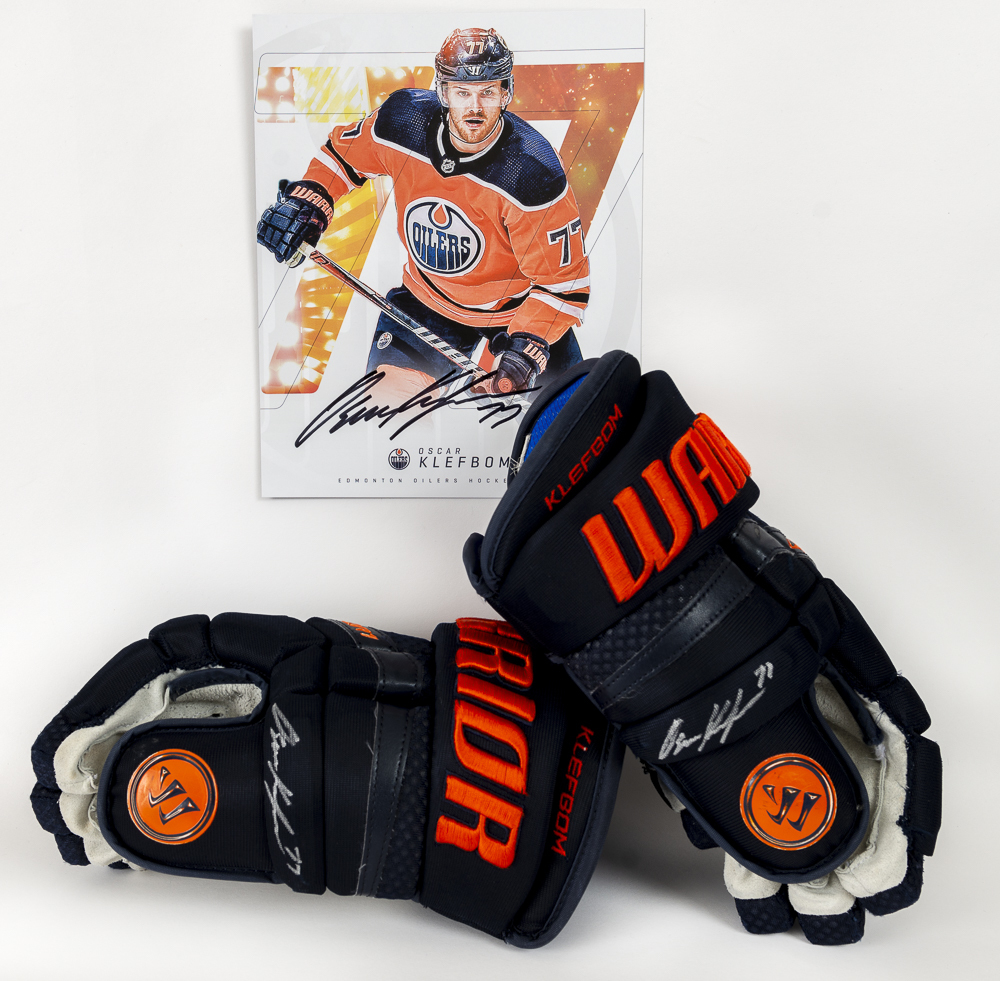 Oscar Klefbom #77 - Autographed 2019-20 Edmonton Oilers Game-Worn Warrior QR1 Pro Hockey Gloves - Includes Autographed Oversized Player Card!