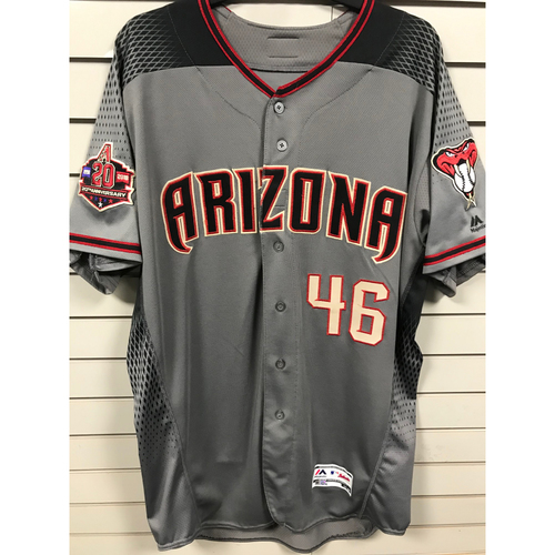 Photo of Patrick Corbin 2018 Team-Issued Road Gray Jersey With 20th Anniversary Commemorative Patch