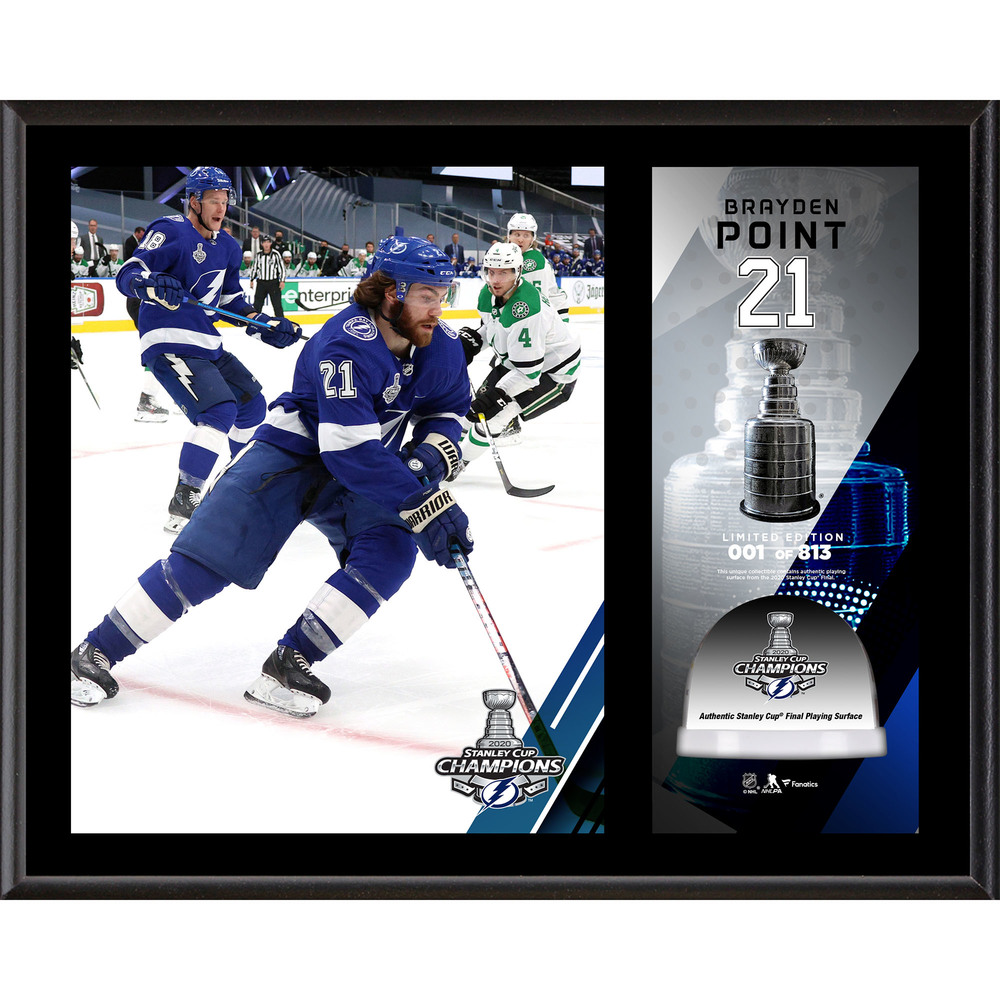 Brayden Point Tampa Bay Lightning 2020 Stanley Cup Champions 12'' x 15'' Sublimated Plaque with Game-Used Ice from the 2020 Stanley Cup Final - LE#1 of 813