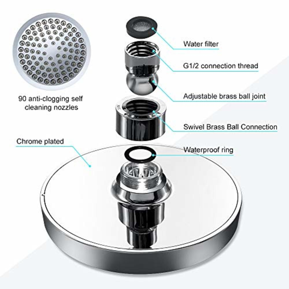 Photo of LeanKing Shower Head Rainfall High Pressure 6? Showerhead Rain High Flow Fixed Luxury Chrome Showerhead Removable Water Restrictor Adjustable Metal Swivel Ball Joint with Filter