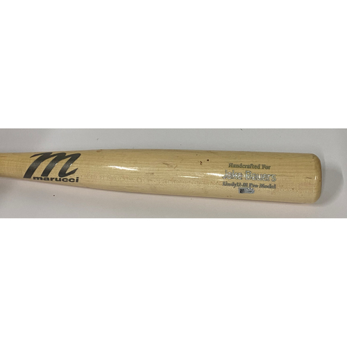 Photo of Game-Used Broken Bat - 9/24/2019 - Marucci Lindy 12 - M Pro Model. Jake Bauers Name on Bat