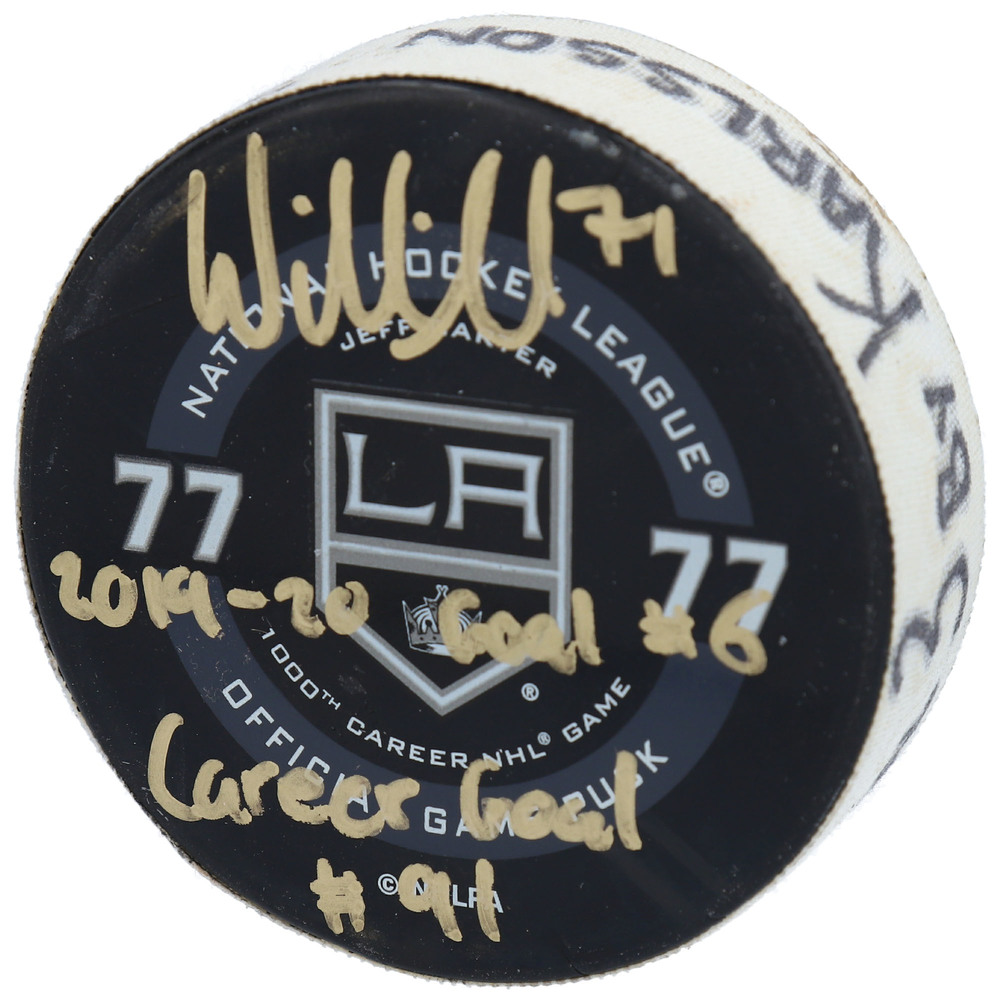 William Karlsson Vegas Golden Knights Autographed Game-Used Goal Puck from November 16, 2019 vs. Los Angeles Kings with Multiple Inscriptions