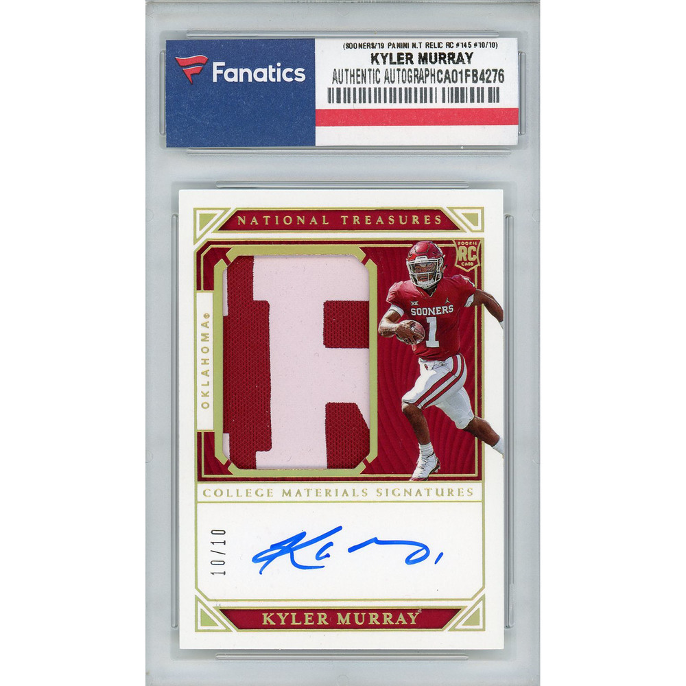 Kyler Murray Oklahoma Sooners Autographed 2019 Panini National Treasures Draft Jumbo Prime Patch Relic Rookie #145 #10/10 Card