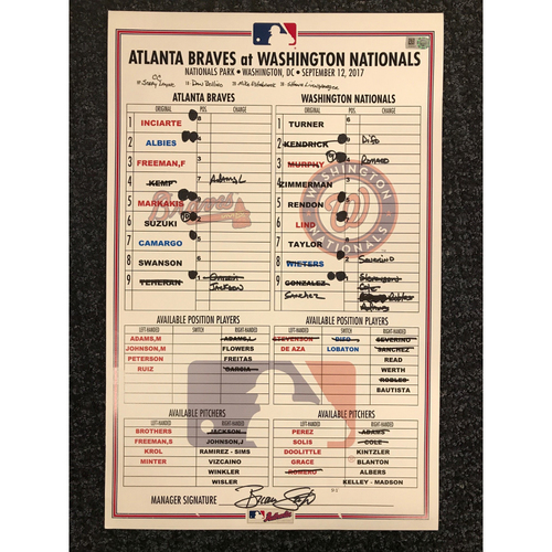 Photo of Game-Used Lineup Card - 9/12/17 - Braves at Nationals - Today Only $35!