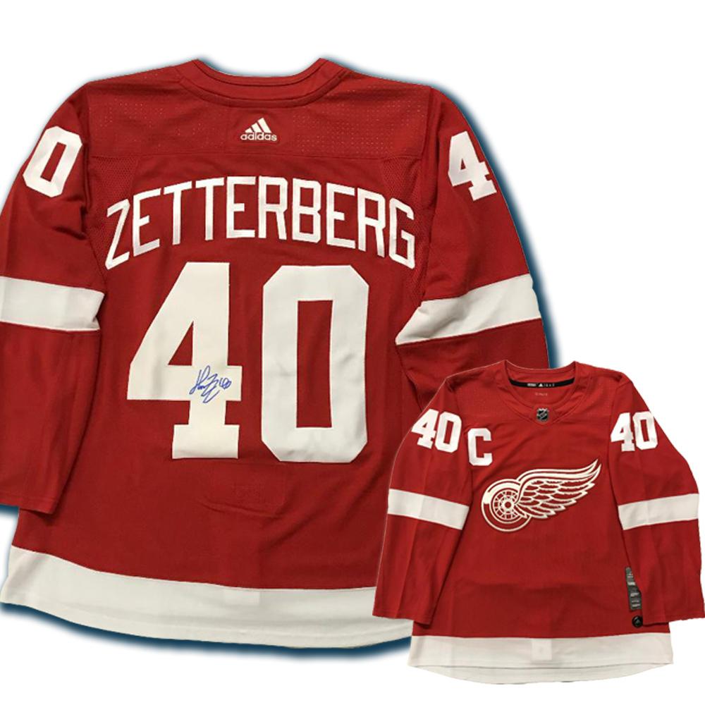 HENRIK ZETTERBERG Signed Detroit Red Wings Red Adidas PRO Jersey