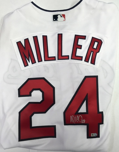 Photo of Andrew Miller Autographed Authentic Indians Jersey