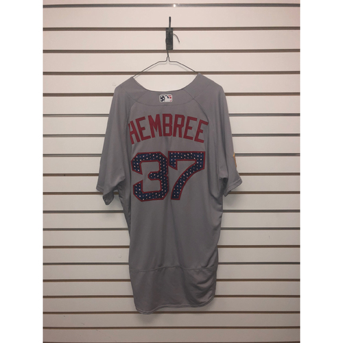 Photo of Heath Hembree Game-Used July 4, 2018 Stars and Stripes Road Jersey